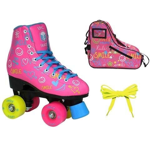 Epic Blush High-Top Indoor Outdoor Quad Roller Skate Limited Edition Bundle
