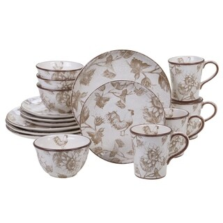 Certified International Toile Rooster 16-piece Dinnerware Set, Service for 4