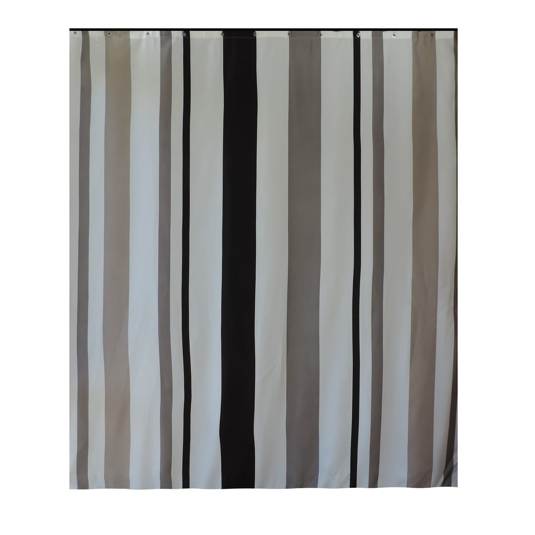 Gamma Extra Long Shower Curtain 78 X 72 Inch Gray And Taupe Stripes Fabric