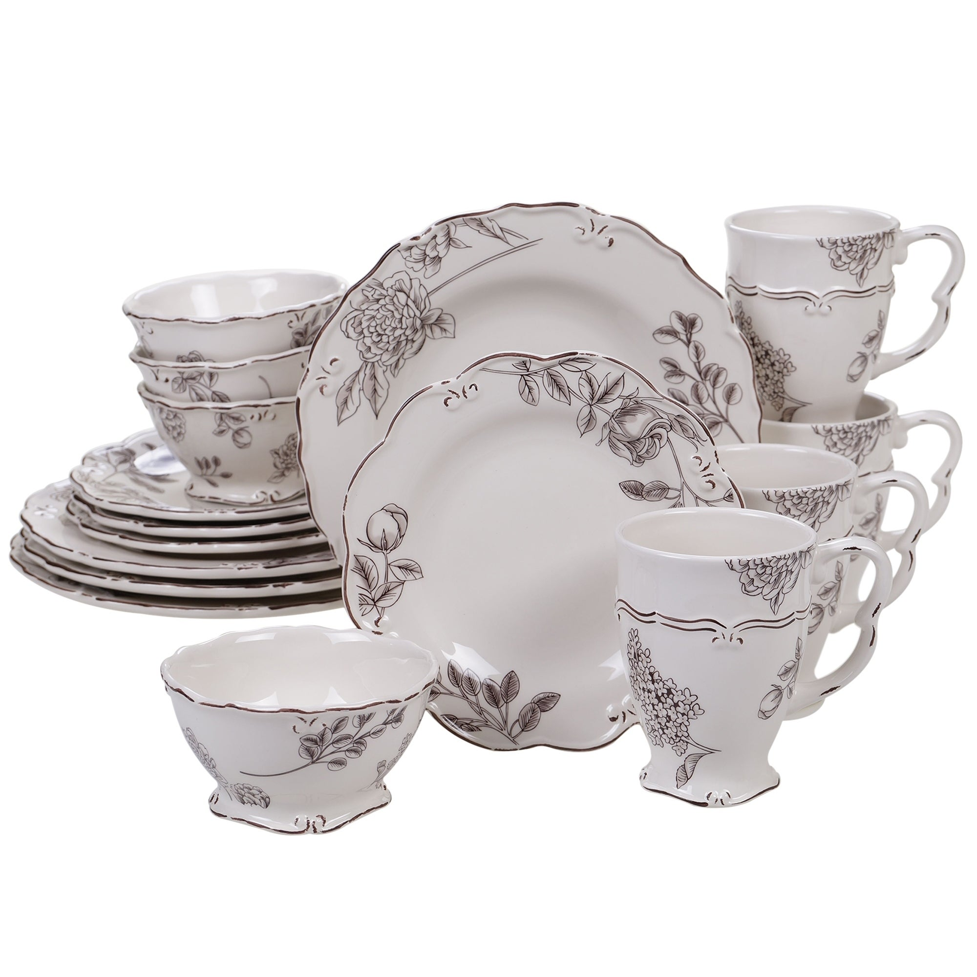 Certified International Vintage Cream With Floral 16 Piece Dinnerware Set Service For 4 Overstock 23174268