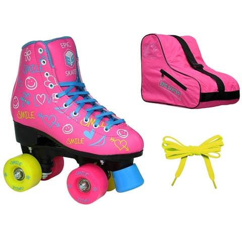 Epic Blush High-Top Indoor Outdoor Quad Roller Skate 3 Pc. Bundle