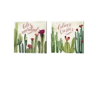 Grace Popp 'Christmas Cactus' Canvas Art (Set of 2)