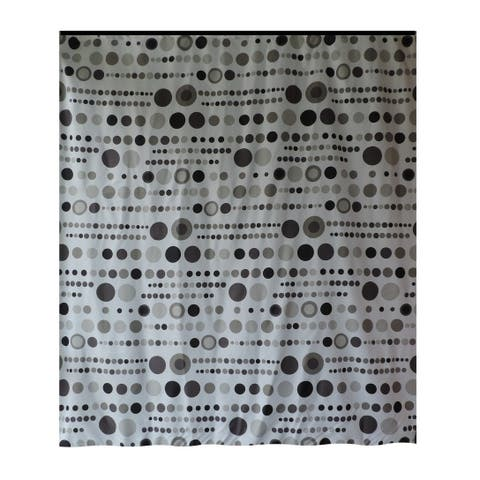 Gamma Extra Long Shower Curtain 78 x 72 Inch Black And Gray Polka Dots Fabric