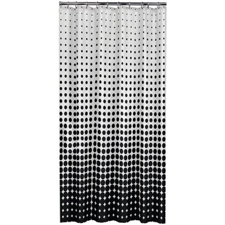 Sealskin Extra Long Shower Curtain 78 x 72 Inch Speckles Black Fabric