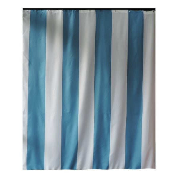 Gamma Extra Long Shower Curtain 78 X 72 Inch Aqua Blue Stripes Fabric