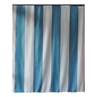 Gamma Extra Long Shower Curtain 78 x 72 Inch Aqua Blue Stripes Fabric