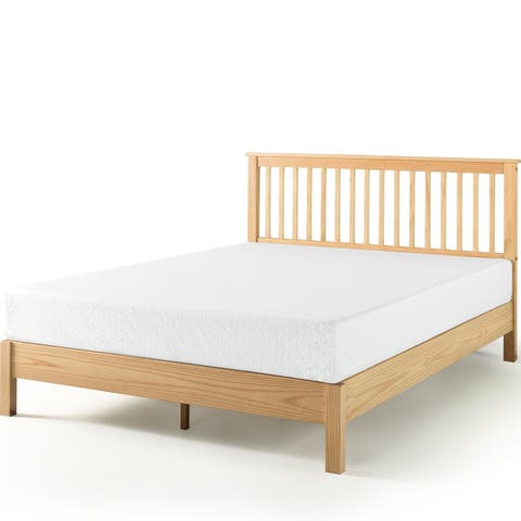Priage by Zinus Farmhouse Wood Platform Bed with Headboard