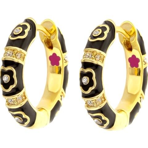 18k Gold Finish Crystal Daisy Love Huggie Earring - Black