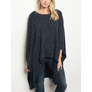 JED Women's Marled Knit Poncho Tunic Top