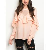 JED Women's Lace Inset Ruffled Long Sleeve Blouse