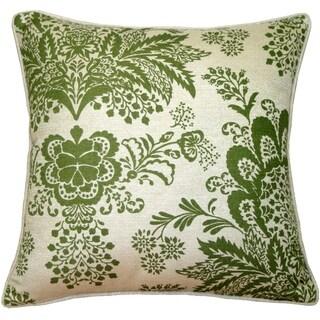 Pillow Decor - Rustic Floral Green 20x20 Throw Pillow