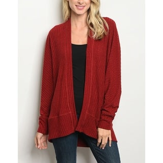 JED Women's Batwing Sleeve Ribbed Open Front Cardigan