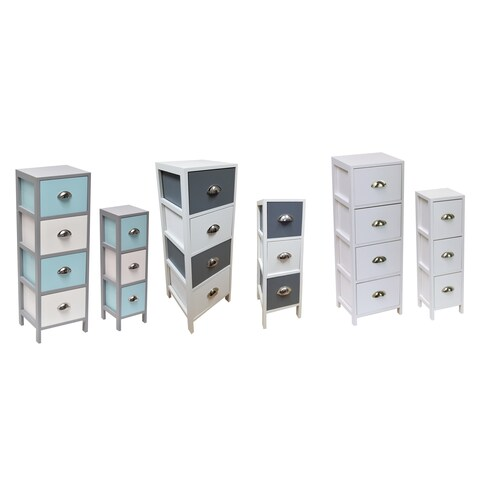 Evideco 4 Drawers Storage Unit Wood -Metal Handles