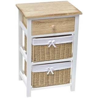 Evideco 2 Baskets - 1 Drawer Storage Unit Wood - White/Natural