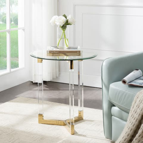 Harper Blvd Dauphine Acrylic Round Accent Table with Glass Top