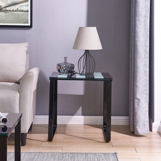 Broet Contemporary Side Table w/ Glass Top