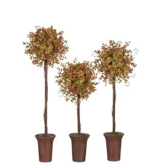 Autumn Eucalyptus Topiary Trees - Set of 3 - burgundy, brown, green