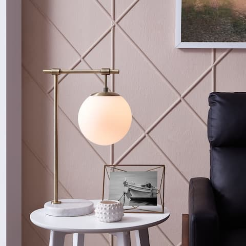 Carson Carrington Marble and Antique Brass Globe Table Lamp