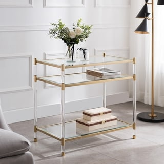 Silver Orchid Bruns Acrylic and Glass 2-shelf Accent Table
