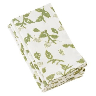 Floral Design Cotton Napkins With Block Print (Set of 4)