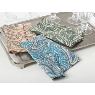 Cotton And Linen Napkins With Paisley Design (Set of 4)