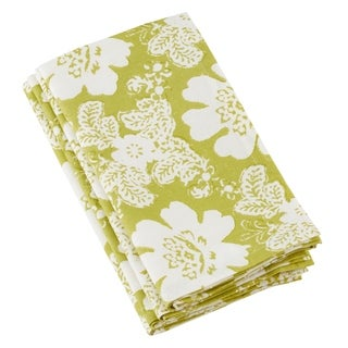 Block Floral Print Cotton Napkins (Set of 4)