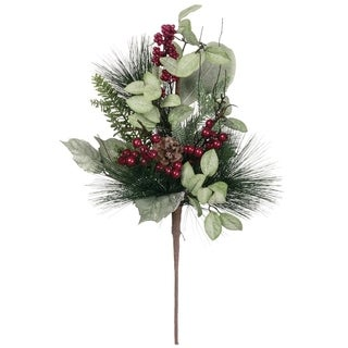 "Pine & Cone with Berry Bush - 9""l x 9""w x 22""h"
