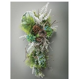 """Leaf Flocked Ice Glitter Stem - 11""""l x .25""""w x 22.5""""h"""
