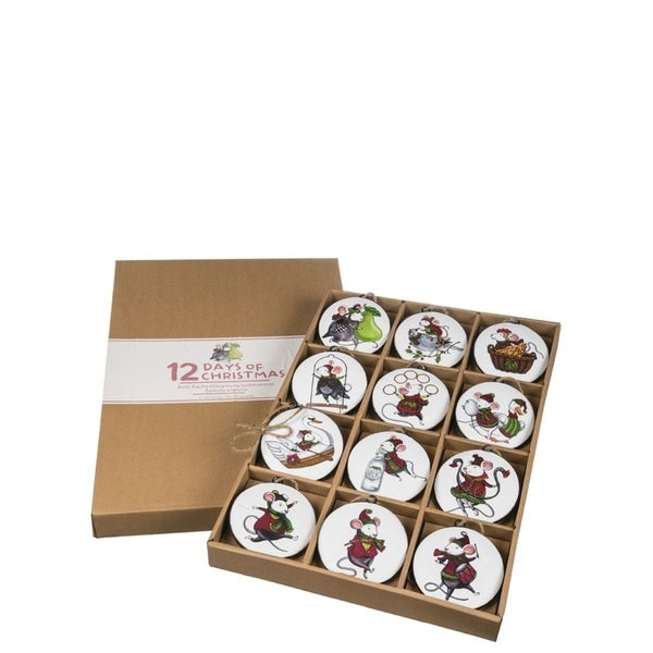 """12 Days of Christmas Mouse Ornaments - Set of 12 - 4""""l x 1""""w x 4.5""""h, 13.5""""l x 2""""w x 19.5""""h. Opens flyout."""