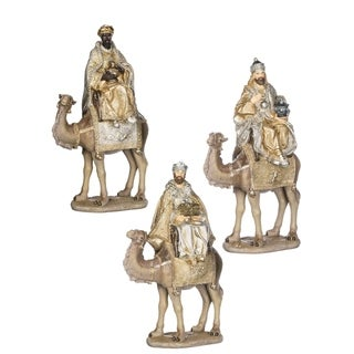 Silver & Gold 3 Wisemen On Camels Figurines - Set of 3