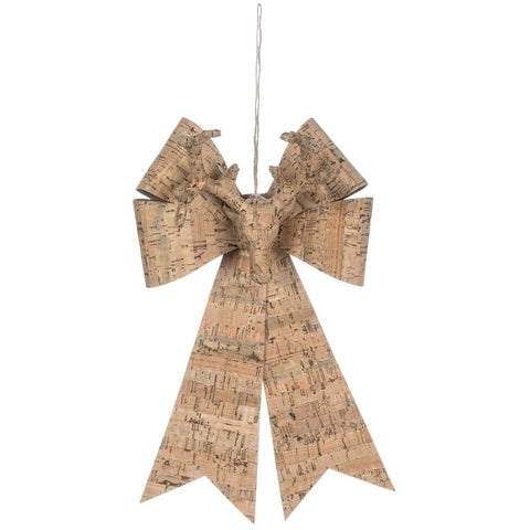 """Cork Bow with Deer Bust Ornament - 8.5""""l x 6.25""""w x 13.5""""h"""