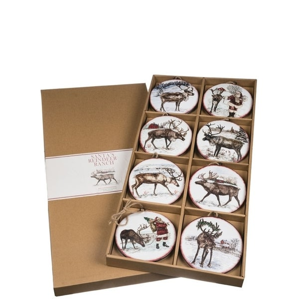 "Santa's Reindeer Ranch Ornaments - Set of 8 - 6""l x .75""w x 6.5""h, 13.5""l x 2""w x 27.5""h"