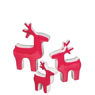 Red & White Reindeer Tabletop Décor - Set of 3