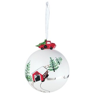 "Covered Bridge Ball Ornament - 4""l x 4""w x 5""h"