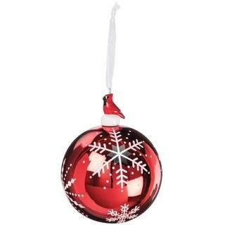 "Cardinal Red Snowflake Ball Ornament - 4""l x 4""w x 5.5""h"
