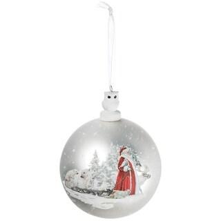 """Santa with Animals Ball Ornament - 4""""l x 4""""w x 5.5""""h"""