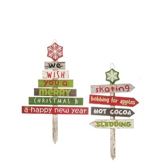 """Rustic Holiday Wooden Stake Signs - Set of 2 - 14""""l x .75""""w x 26.5""""h, 18.75""""l x .75""""w x 29""""h"""