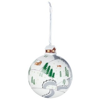 "Cabin Scene Ball Ornament - 4""l x 4""w x 5""h"