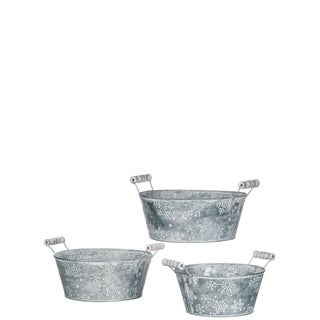 Galvenized Snowflake Baskets - Set of 3