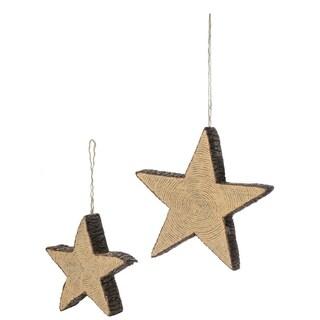 """Wood Grain Star Ornaments - Set of 2 - 7.5""""l x 2""""w x 7.5""""h, 10""""l x 2""""w x 10""""h"""