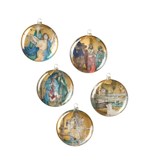 "Nativity Disc Ornaments - Set of 5 - 5""l x 1.75""w x 5""h"