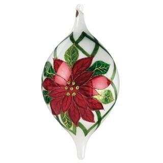 """Poinsettia Drop Ornament - 5""""l x 5""""w x 9""""h"""