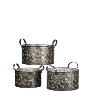Embossed Pattern Metal Planters - Set of 3
