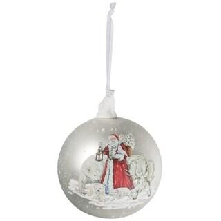 "Santa with Polar Bear Ball Ornament - 4""l x 4""w x 5""h"