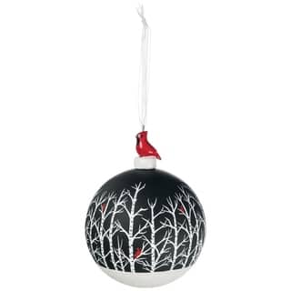 cardinal in woods ball ornament 4l x