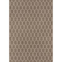 "Momeni Baja Trellis Machine Made Polypropylene Taupe Indoor Outdoor Rug - 8'6"" x 13'"