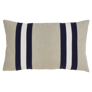 Down Filled Dual Band Design Cotton Throw Pillow