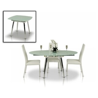 Modrest Brunch White Metal and Glass Extendable Dining Table