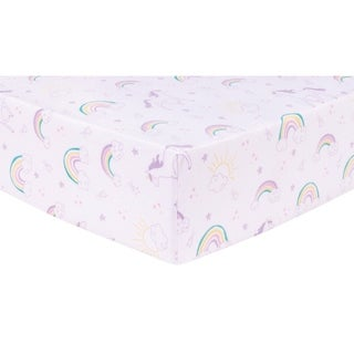 Unicorn Rainbow Deluxe Flannel Fitted Crib Sheet