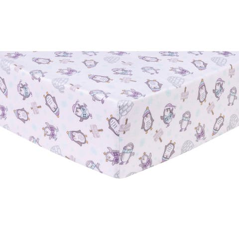 Happy Penguins Deluxe Flannel Fitted Crib Sheet